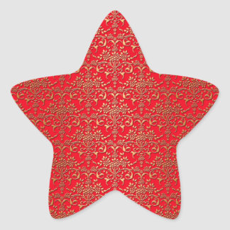 Fancy Red and Gold Damask Pattern Star Sticker