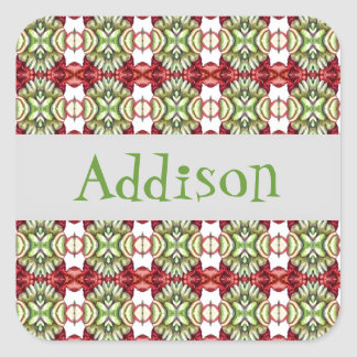 Fancy Red and Green Plaid Square Sticker