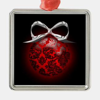 Fancy Red Black Silver Holiday Tree Decoration Silver-Colored Square Decoration