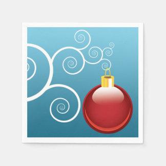 Fancy Red Christmas Ornament Blue Background Paper Serviettes