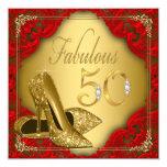 Fancy Red Gold High Heel Fabulous 50th Birthday 13 Cm X 13 Cm Square Invitation Card