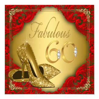 Fancy Red Gold High Heel Fabulous 60th Birthday 13 Cm X 13 Cm Square Invitation Card