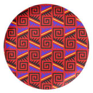 Fancy Red Mexican Pattern Dinner Plates