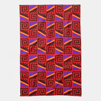 Fancy Red Mexican Pattern Tea Towel