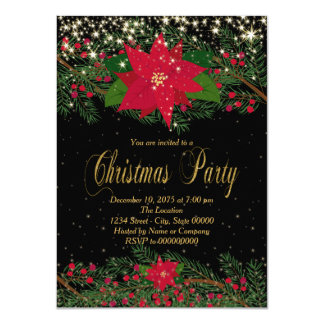 Fancy Red Poinsettia Christmas Party Card