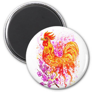 Fancy Rooster Art 3 6 Cm Round Magnet