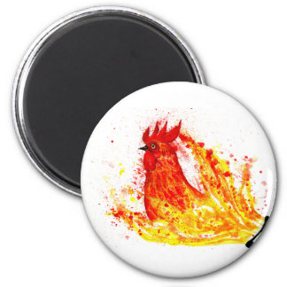 Fancy Rooster Art 4 6 Cm Round Magnet