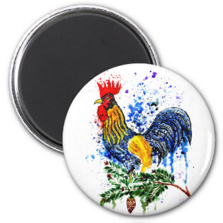 Fancy Rooster Art 5 6 Cm Round Magnet