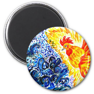 Fancy Rooster Art 6 Cm Round Magnet