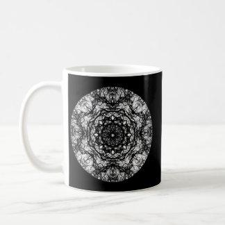 Fancy Round Design on Black. Coffee Mug