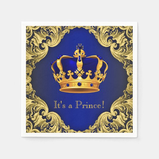 Fancy Royal Blue Gold Prince Baby Shower Disposable