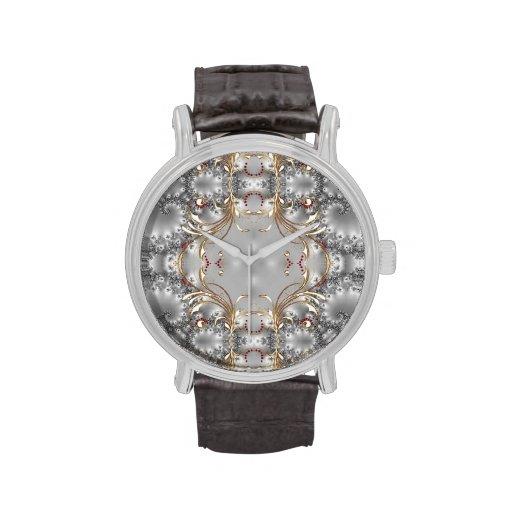 Fancy Ruby Diamond Silver Gold Pattern Watch