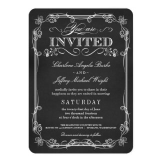 Fancy Rustic Chalkboard Wedding Invitations