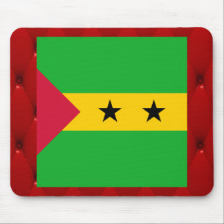 Fancy Sao Tome and Principe Flag on red velvet bac Mouse Pad