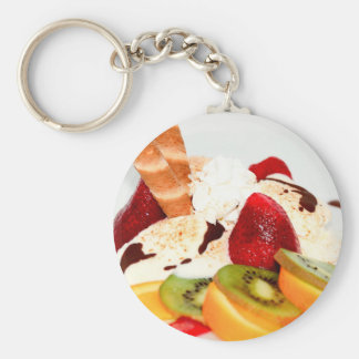 Fancy Schmany Sundae Treat Basic Round Button Key Ring