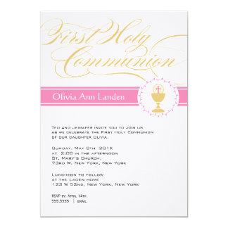 Fancy Script First Communion Invitations  |  Pink