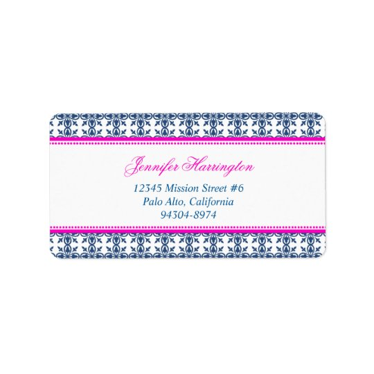 Fancy script hot pink navy filigree custom mailing label