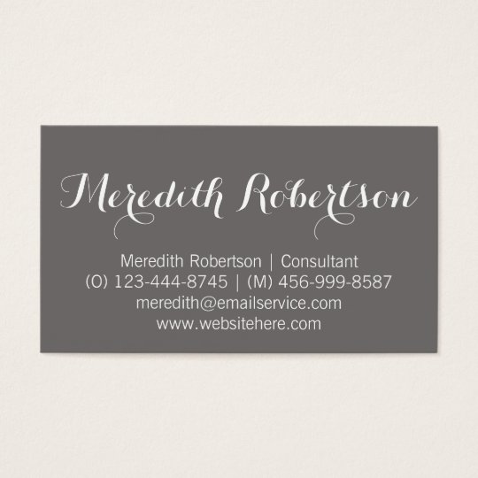 Fancy Script Professional Grey Business Cards