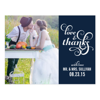 Fancy Script Wedding Thank You Postcard | Navy