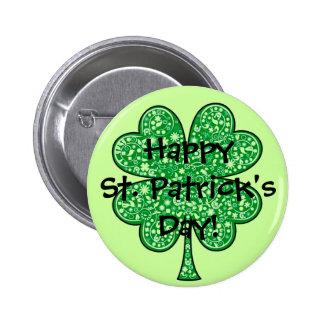 Fancy Shamrock Happy St. Patrick's Day! 6 Cm Round Badge
