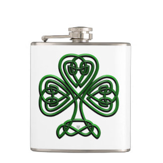 Fancy Shamrock Hip Flask