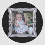 Fancy Silver Frame Add Photo Here Round Stickers