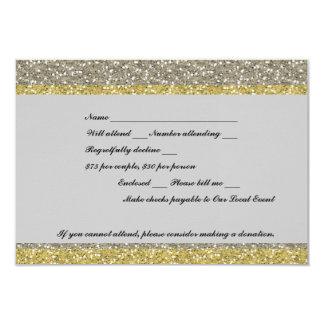 Fancy Silver Gold Glitter Event RSVP 9 Cm X 13 Cm Invitation Card