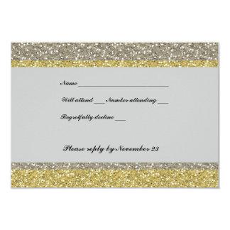Fancy Silver Gold Glitter RSVP 9 Cm X 13 Cm Invitation Card