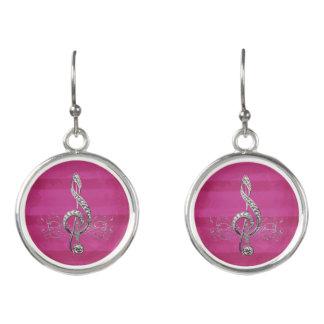 Fancy Silver Treble Clef & Music Notes Pink Grunge Earrings