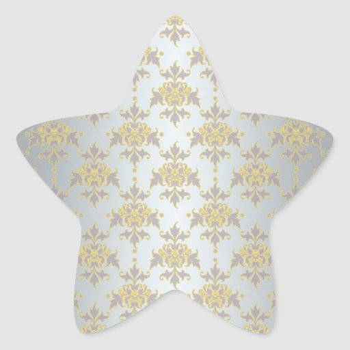 Fancy Silver White and Yellow Damask Star Sticker