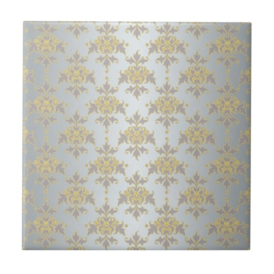 Fancy Silver White and Yellow Damask Tile