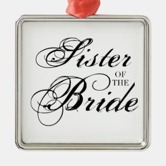 Fancy Sister of the Bride Black Silver-Colored Square Decoration