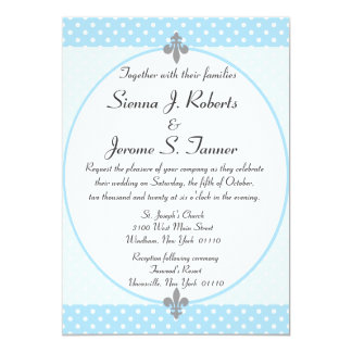 Fancy Sky Blue Polka Dots Wedding Invitation