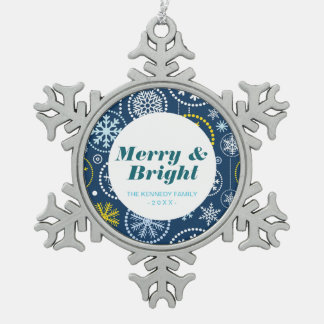 Fancy Snowflake Shower Snowflake Pewter Christmas Ornament