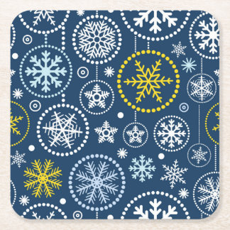 Fancy Snowflake Shower Square Paper Coaster