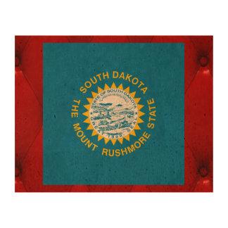 Fancy South Dakota Flag on red velvet background Cork Fabric