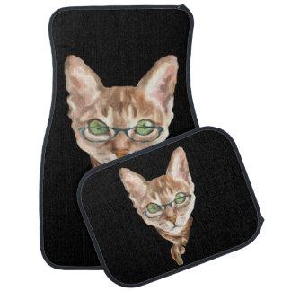Fancy Sphynx Cat Feline Kitten Scarf Glasses Car Mat