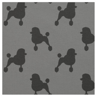 Fancy Standard Poodle Silhouettes Pattern Fabric