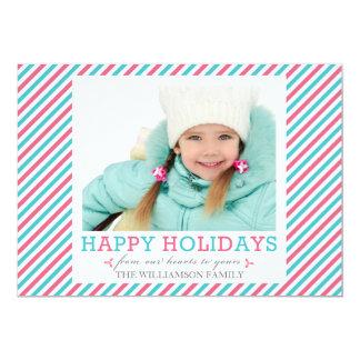 Fancy Stripe Pink Aqua Photo Holiday Flat Cards 13 Cm X 18 Cm Invitation Card