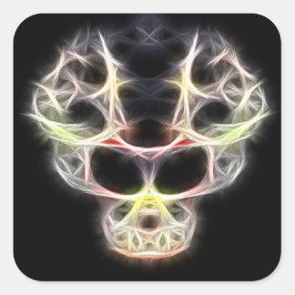 Fancy stylized skull square sticker