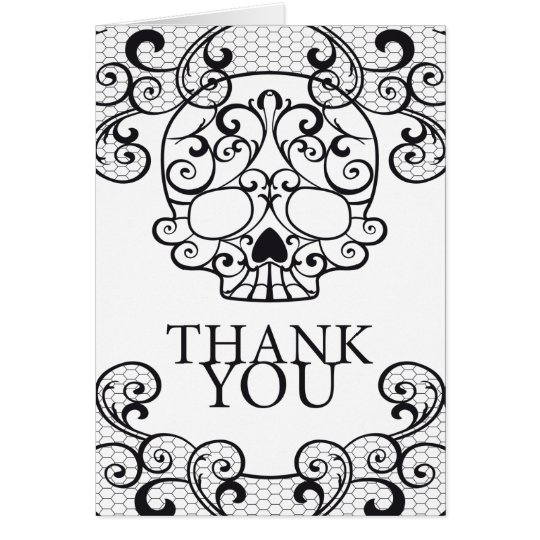 Fancy Sugar Skull Calavera Thank you Card