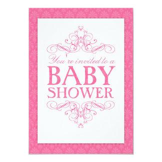 Fancy Sweet Pink Baby Shower Swirl Invitation