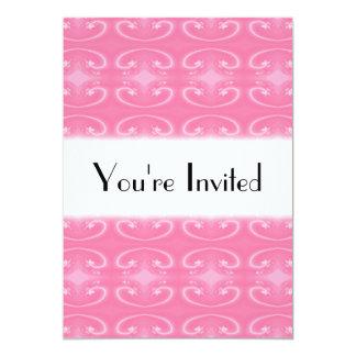 Fancy Swirl Pattern in Pink. 13 Cm X 18 Cm Invitation Card