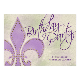Fancy Swirl Purple Fleur de Lis Birthday Party Card