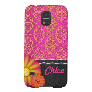 Fancy Tangerine Tango Pink Orange Floral Damask Galaxy S5 Covers