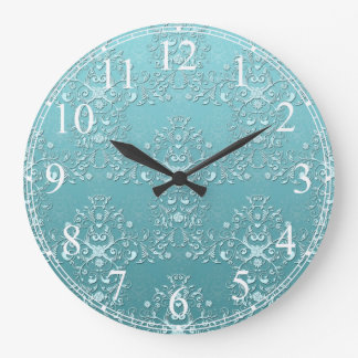 Fancy Teal Aqua Turquoise and White Damask Large Clock