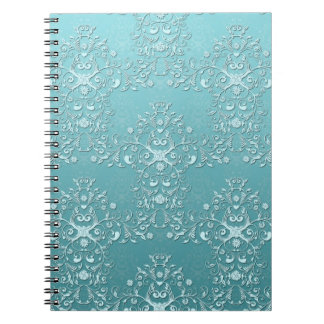 Fancy Teal Aqua Turquoise and White Damask Notebooks