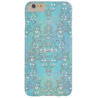 Fancy Teal Blue and Aquamarine Lacy Damask Floral Barely There iPhone 6 Plus Case