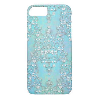 Fancy Teal Blue and Aquamarine Lacy Damask Floral iPhone 7 Case