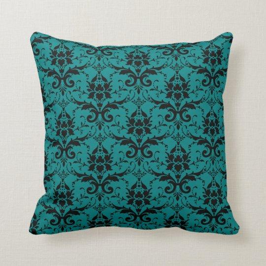 Fancy Teal Damask Pattern Girly Cushion